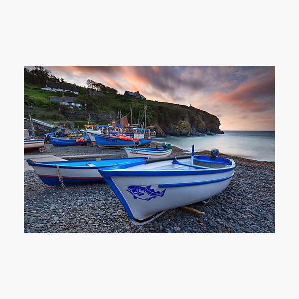 Boats at Sunrise (Cadgwith) Photographic Print