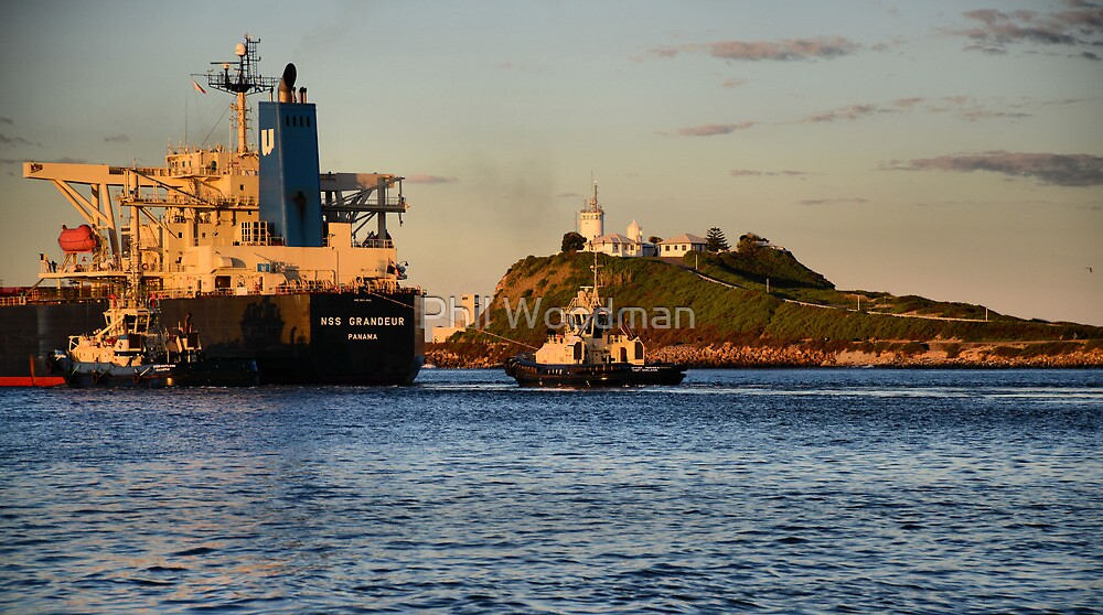 NSS GRANDEUR CARGO SHIP - NEWCASTLE HARBOUR NSW AUSTRALIA by Phil Woodman