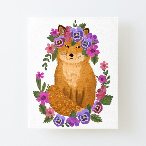 Fox with floral wreath Canvas Mounted Print