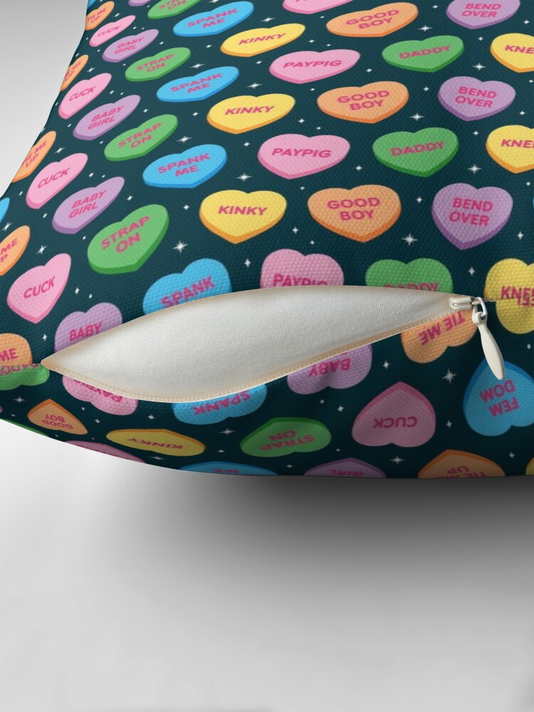 Alternate view of Kinky Candy Hearts Throw Pillow