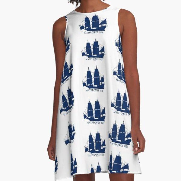 Mayflower Ship 1620 blue 3 A-Line Dress