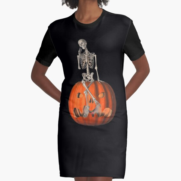 Funny Skeleton Jack O Lantern Halloween  Graphic T-Shirt Dress