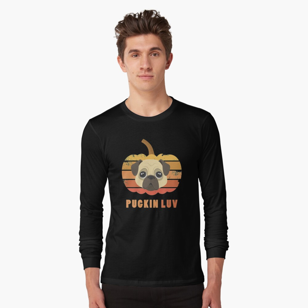 Pugkin Luv Jackolantern Pug Gourd Fleabag Puppy. Long Sleeve T-Shirt