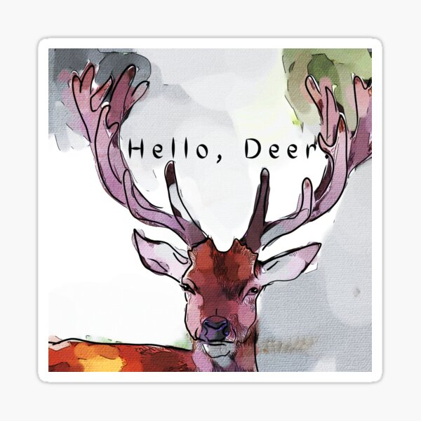 Hello, Deer Sticker