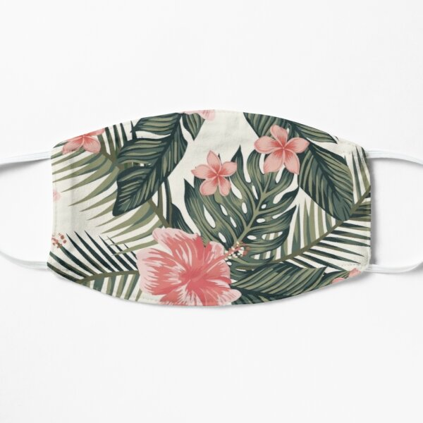 abstract pink floral Flat Mask