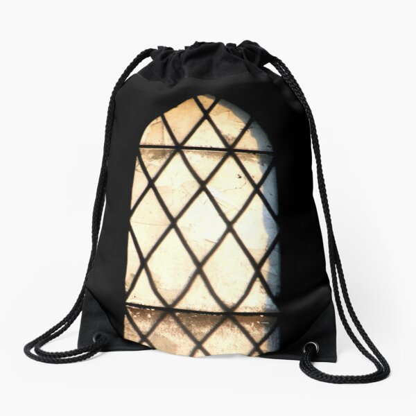Abandoned window Drawstring Bag