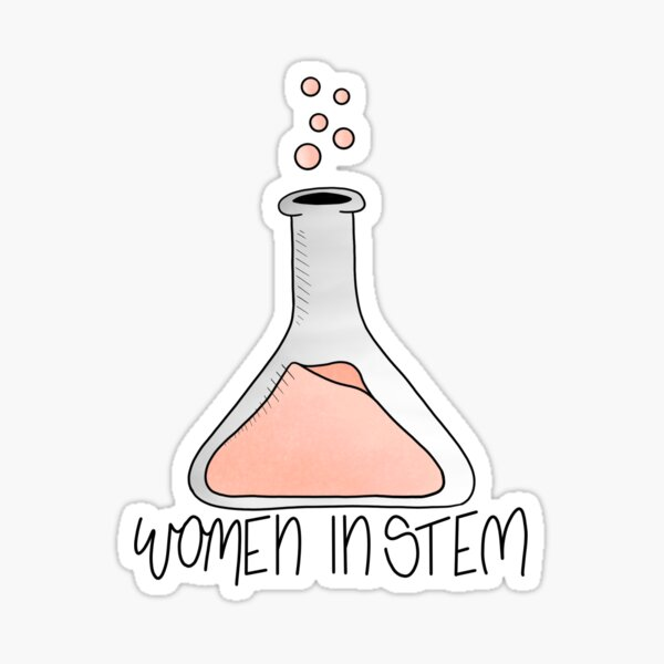 UPDATED Women in Stem Flask / Beaker New Lettering Option 2 Sticker