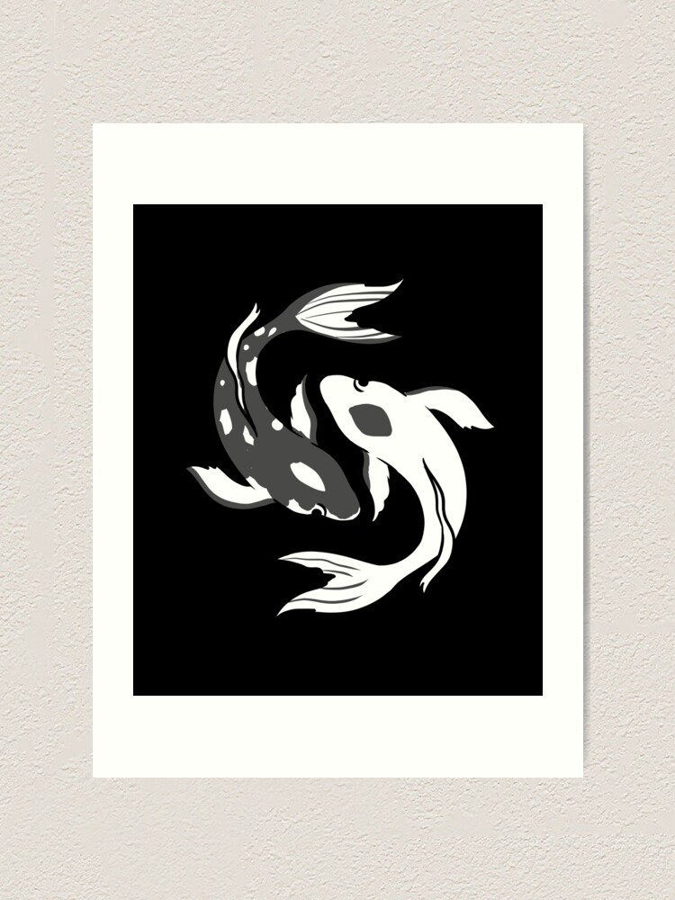 Yin And Yang Koi Fish Art Print By Queerappear Redbubble