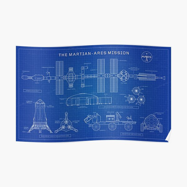 Ares Mission - The Martian (Blueprint-English) Poster