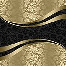 Gold & Black Damasks Modern Geometric Shapes by artonwear
