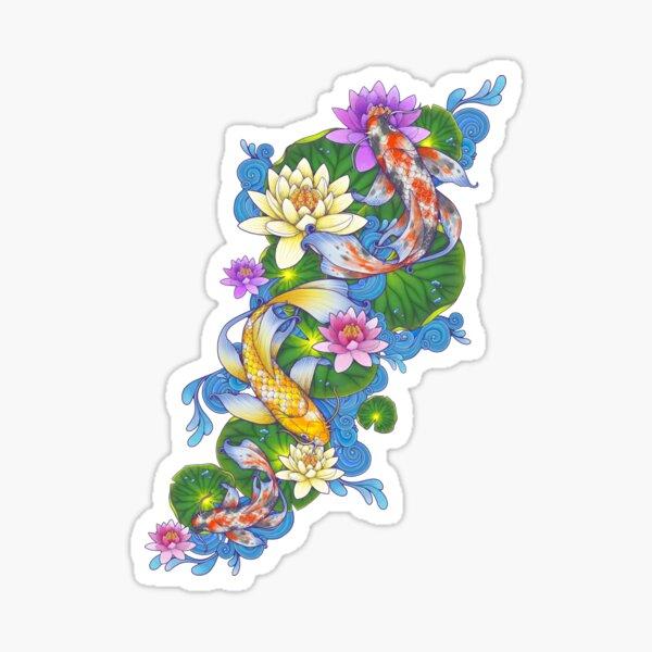 Lotus Koi Pond Sticker