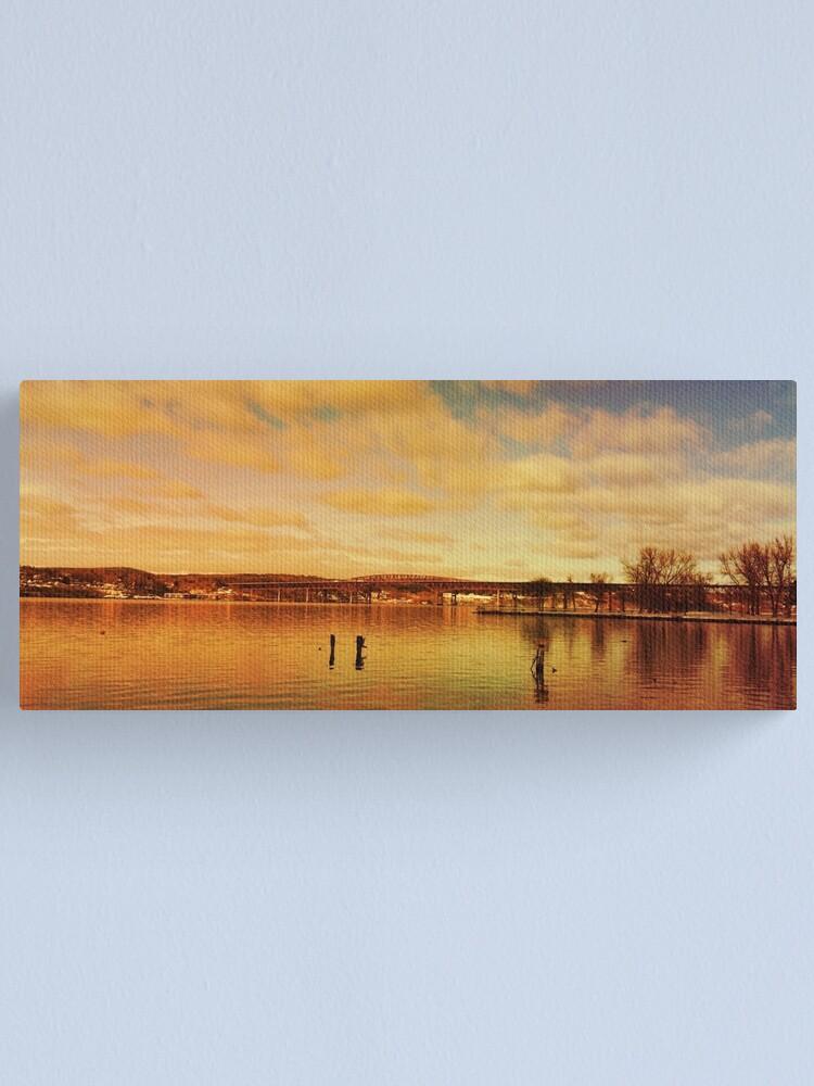 Alternate view of Red Hudson - Hudson River Sunset Landscape  Canvas Print