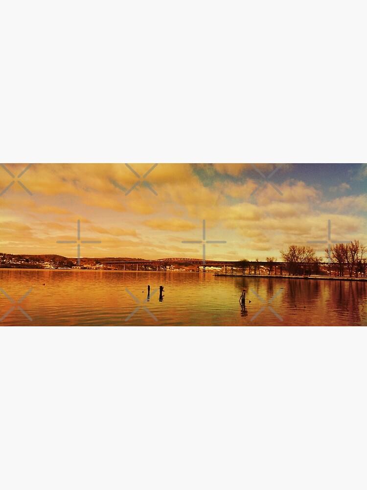 Red Hudson - Hudson River Sunset Landscape  by OneDayArt