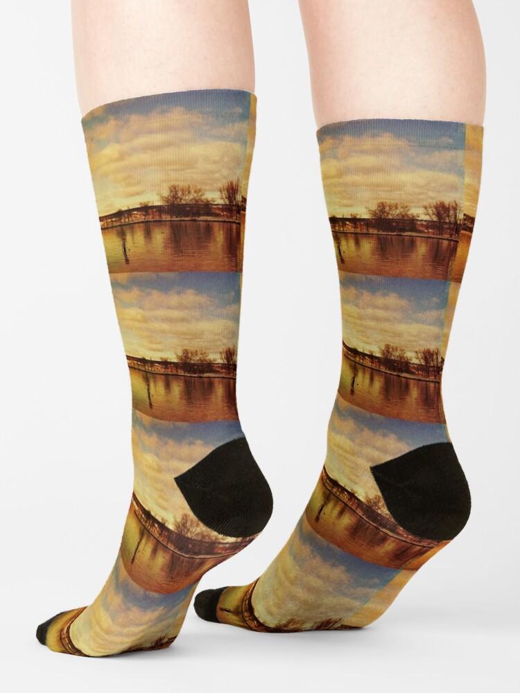 Alternate view of Red Hudson - Hudson River Sunset Landscape  Socks
