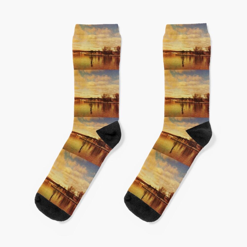 Red Hudson - Hudson River Sunset Landscape  Socks