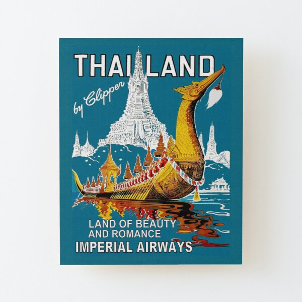 THAILAND : Vintage Airline Travel Advertising Print Wood Mounted Print
