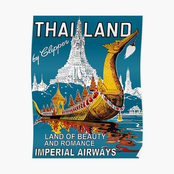 THAILAND : Vintage Airline Travel Advertising Print Poster