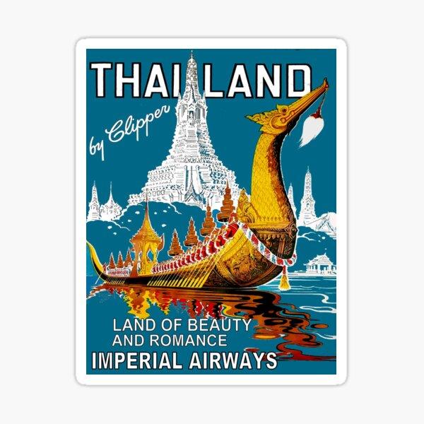 THAILAND : Vintage Airline Travel Advertising Print Sticker