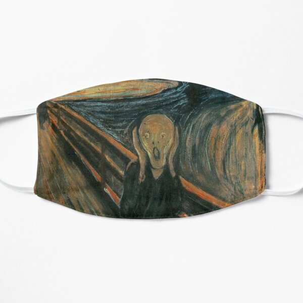 THE SCREAM. Edvard Munch, Man at bridge holding head with hands and screaming. On BLACK. Mask