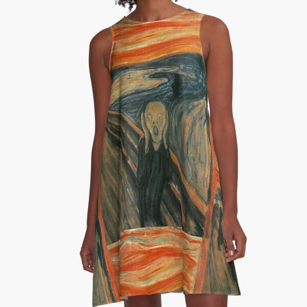 THE SCREAM. Edvard Munch, Man at bridge holding head with hands and screaming. On BLACK. A-Line Dress