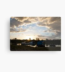 Small boats on the river Sava Metal Print