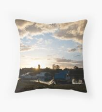Small boats on the river Sava Throw Pillow