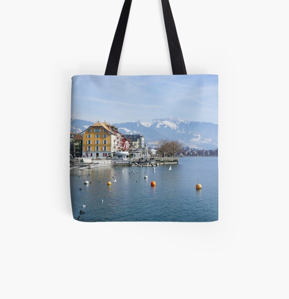 Vevey on the lake Geneva in Switzerland All Over Print Tote Bag