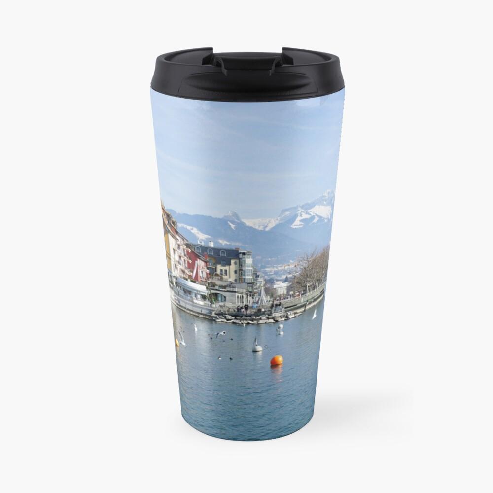 Vevey on the lake Geneva in Switzerland Travel Mug