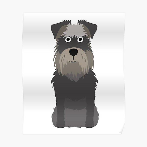 Mini Schnauzer Dog Cartoon Art Poster