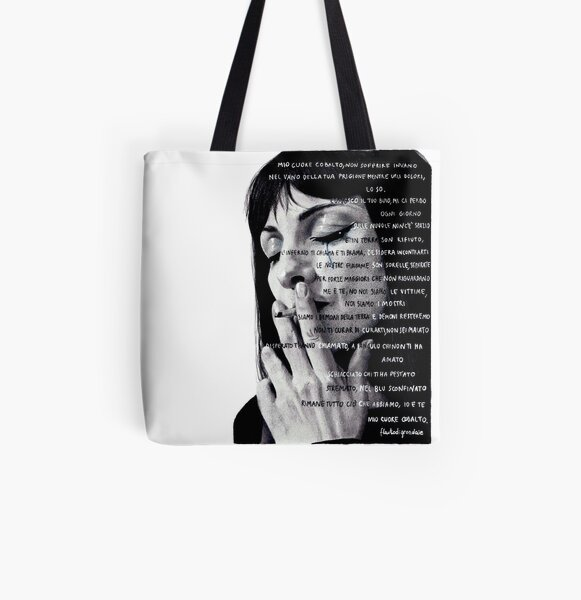 drawing of Najwa Nimri with poem All Over Print Tote Bag