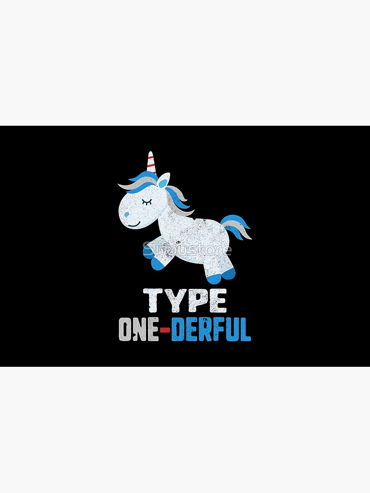 Type One Derful Diabetes T1 Awareness Cute Unicorn White Blue Ribbon Warrior Gift by Sifoustore