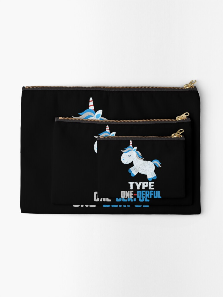 Alternate view of Type One Derful Diabetes T1 Awareness Cute Unicorn White Blue Ribbon Warrior Gift Zipper Pouch