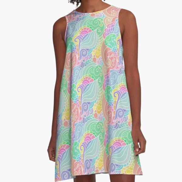 Summer Vibes - Modern Hippie Oriental Pattern with Paisley Motives A-Line Dress