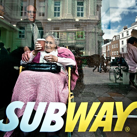 Lady in Subway, Brighton by Heather Buckley