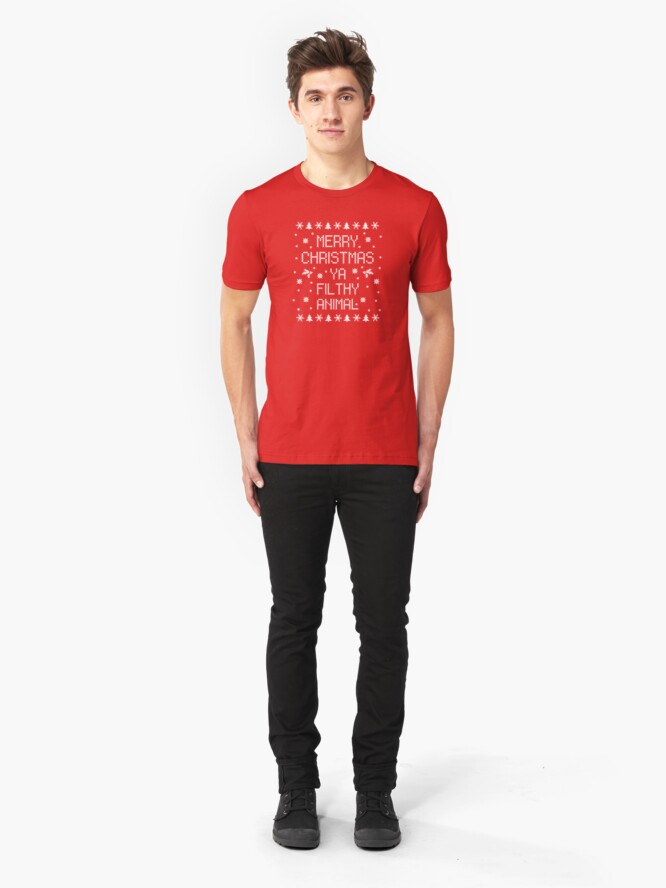 Alternative Ansicht von Merry Christmas Ya Filthy Animal Slim Fit T-Shirt