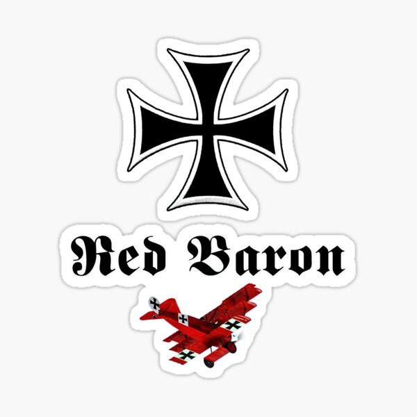 Manfred von Richthofen, The Red Baron and his Fokker Dr.1 on red background. Sticker