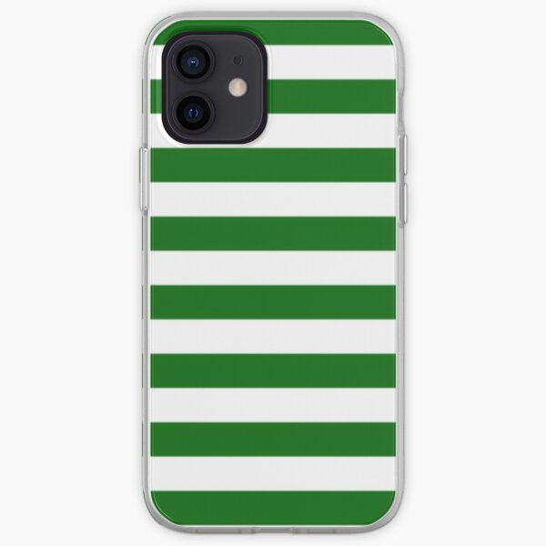 Green and White Hoops Banded Design iPhone Soft Case