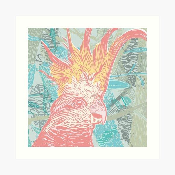 Cockatoo - linocut print Art Print