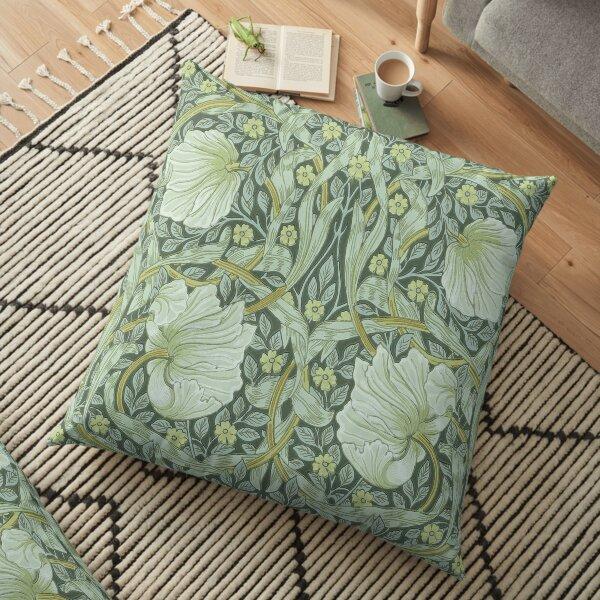 William Morris, motif Art nouveau, beaux objets d'art, motif en tissu, belle époque, victorien, floral, vert, couleurs naturelles, élégant, moderne, tendance Coussin de sol