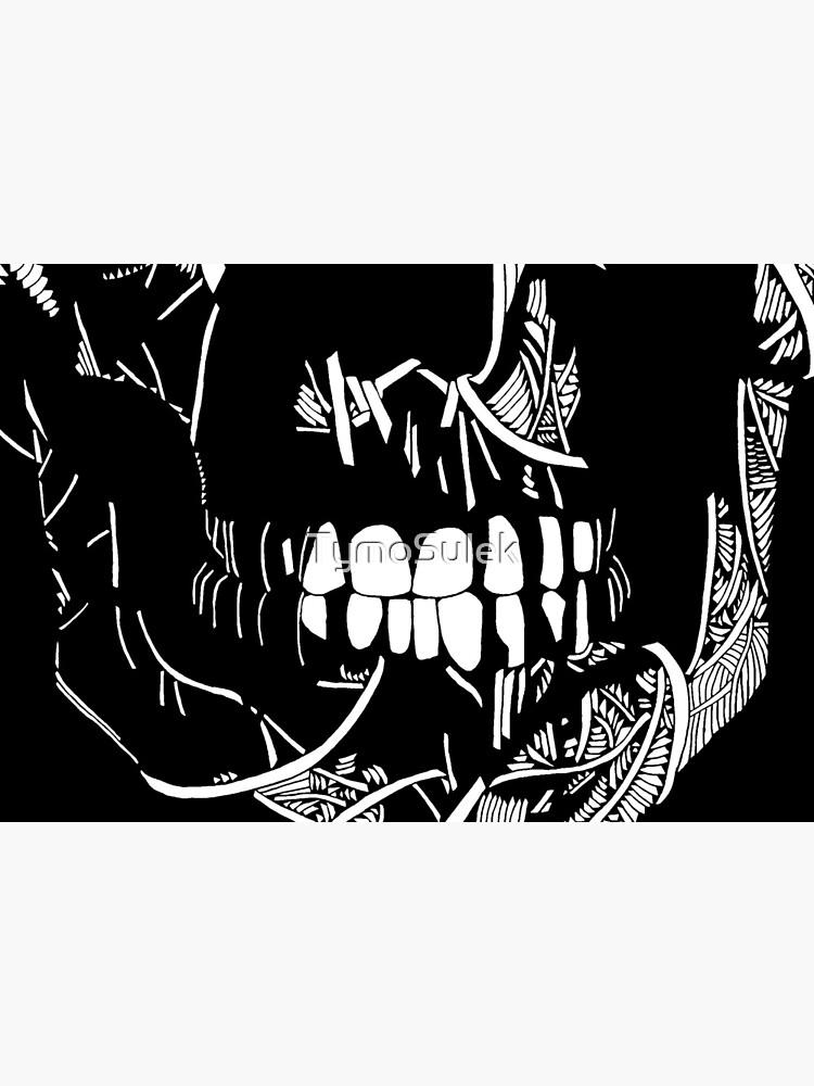 One Eyed Skull   Graveyard   Black and White by TymoSulek