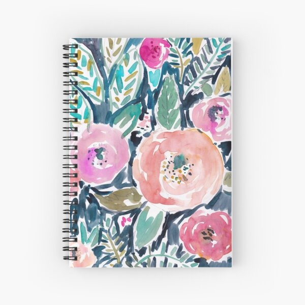 Gardens of Capitola Watercolor Floral Spiral Notebook