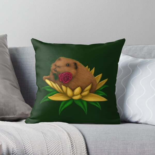 Blooming Guinea Pig Throw Pillow