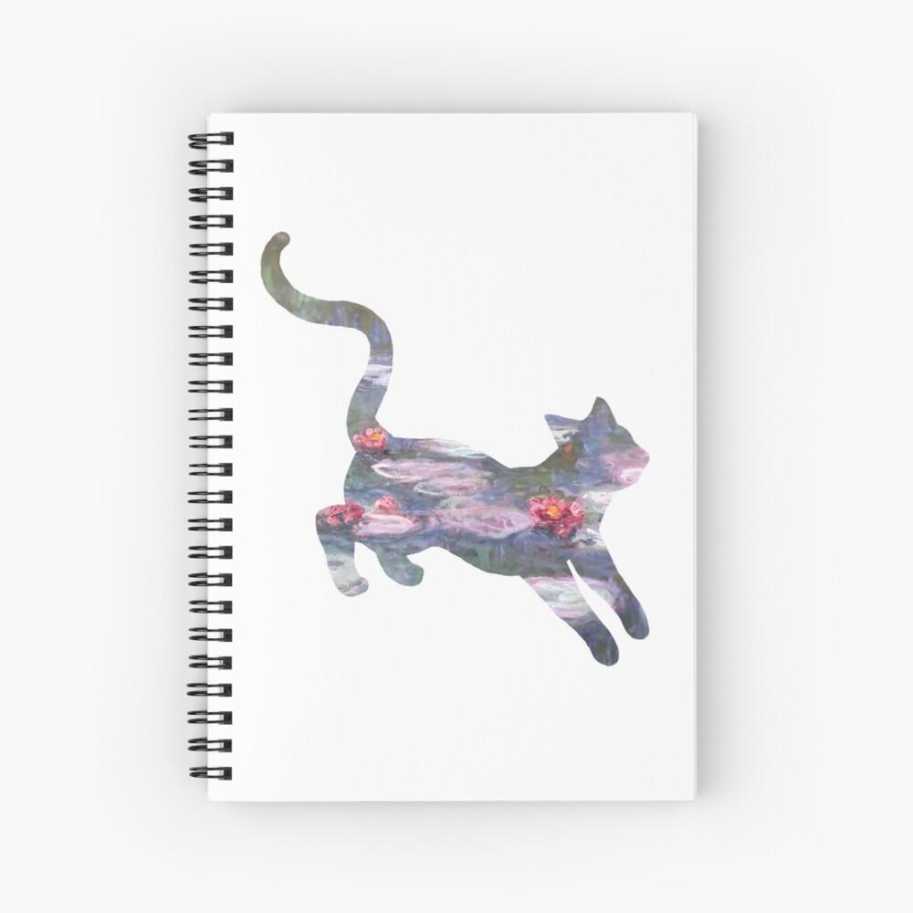 Waterlily Monet Cat Spiral Notebook