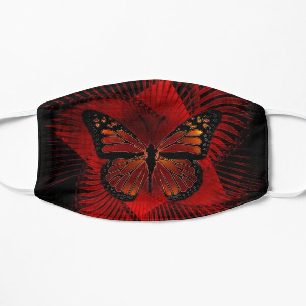 Grunge Aesthetic Monarch Butterfly Design in Red Black Mask