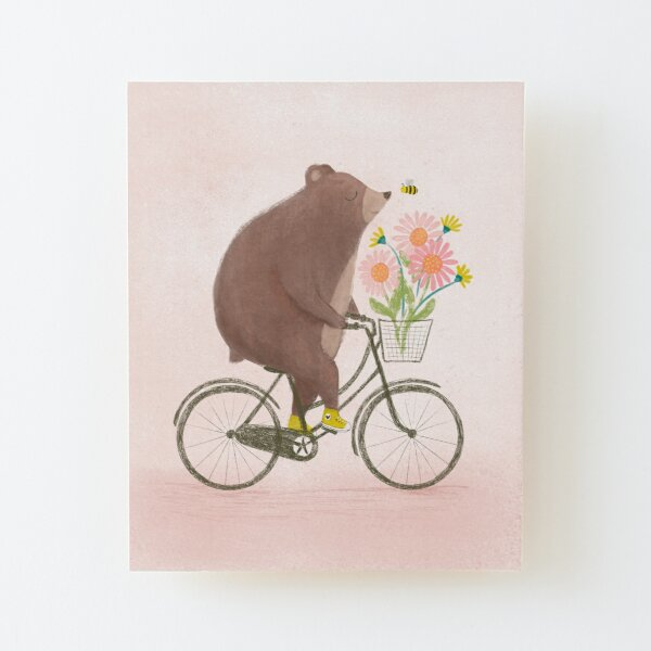 Bear on a Bike Ride Wood Mounted Print