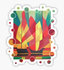 Happy Father's Day Cubist Abstract of Junk Sails and Ocean Skies Sticker