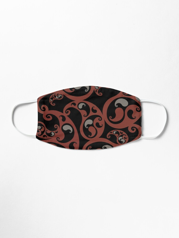 Alternate view of Earth Colors Dark Red and Black Paisley Inspired Swirls and Spirals Pattern Mask