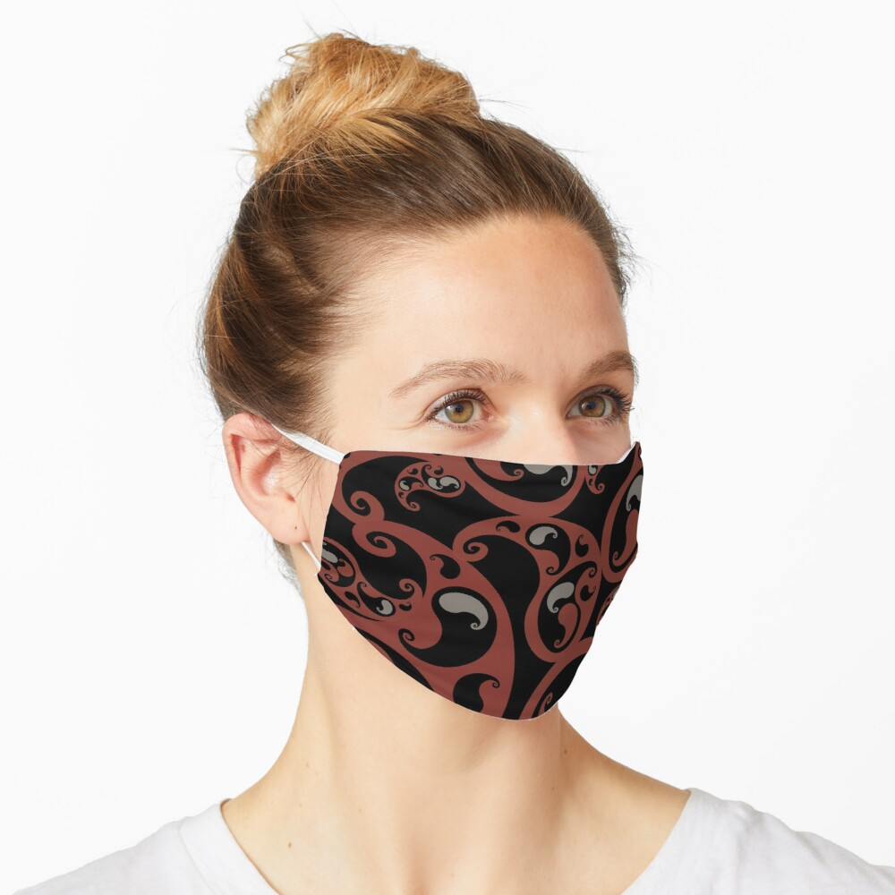 Earth Colors Dark Red and Black Paisley Inspired Swirls and Spirals Pattern Mask
