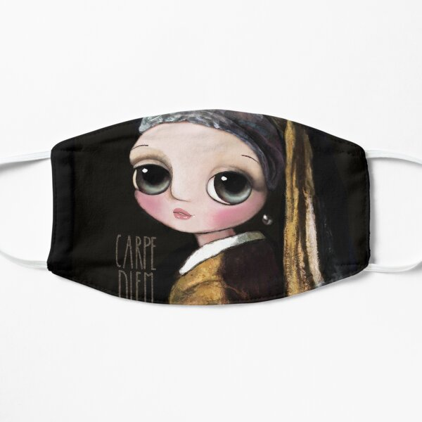 The girl with the pearl earring, big eyes art by Margherita Arrighi Flat Mask
