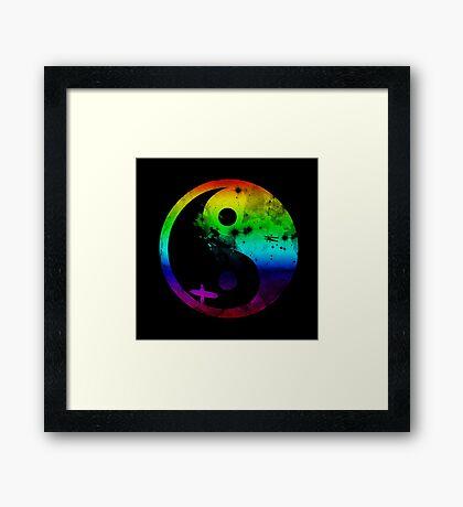 surfin v2 rainbow version Framed Print